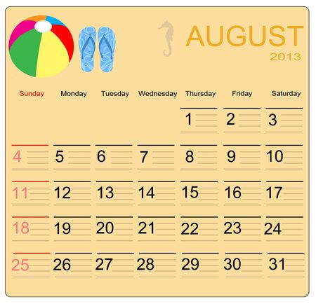 August 2013 calendar, vector illustration Vector