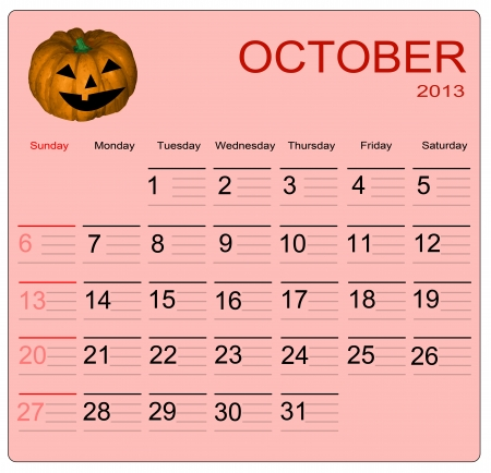 October 2013 calendar, vector illustration Vector