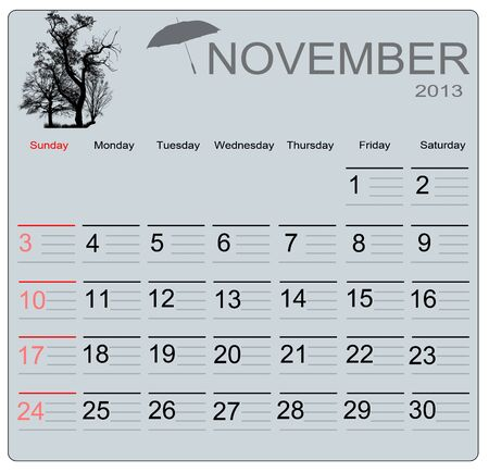 November 2013 calendar, vector illustration Vector
