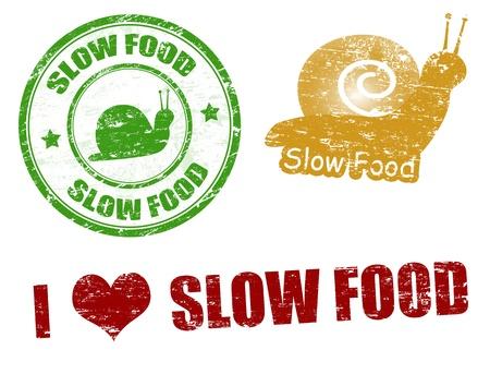 slow food: Set di timbri in gomma grunge con il cibo slow testo scritto dentro, illustrazione vettoriale