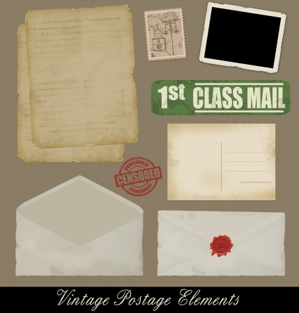 Set of Vintage Postage Design Elements, vectot illustration Stock Vector - 15058007
