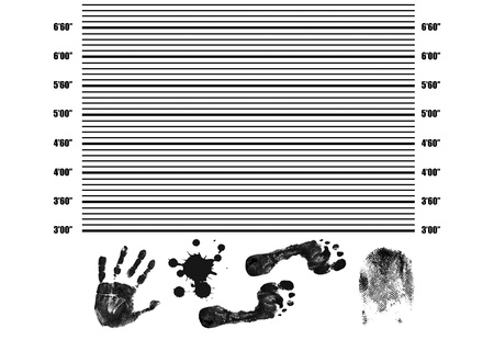 mugshot: Police Lineup Background with fingerprint, handprint,footprint and splatter, vector illustration