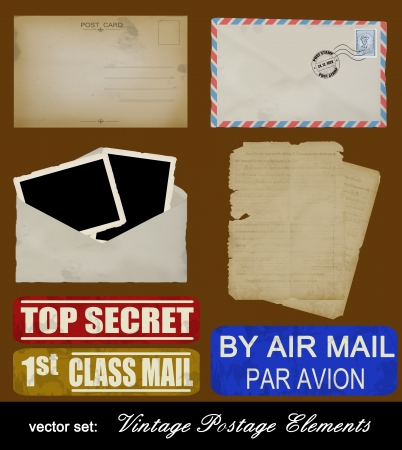 postcards: Scrapbooking set of old postage design elements - postcard, photos, stamp, envelope and papers, vector illustration