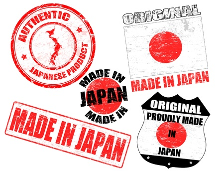 Set of grunge rubber stamp with the text made in Japan written inside, vector illustration Stock Vector - 15057984