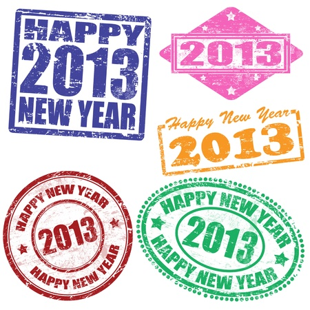 Set of 2013 new year grunge stamps illustration Stock Vector - 15125013