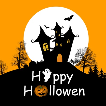 Halloween background with haunted house, bats and full moon illustration