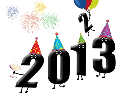 Funny 2013 New Year's Eve background illustration Stock Vector - 15125014