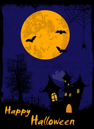 Grungy Halloween background with haunted house, bats and spider  Vector
