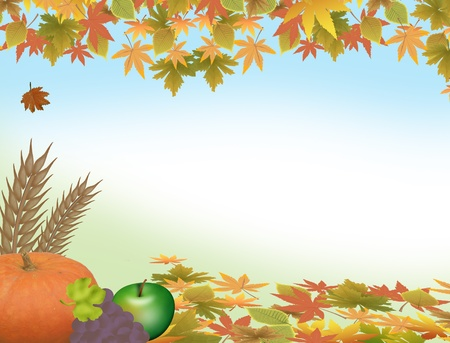 thanksgiving dinner: Autumn background with pumpkin, grape,aplle and leaves  Illustration
