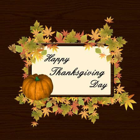thanksgiving day frame with pumpkin and  leafs
