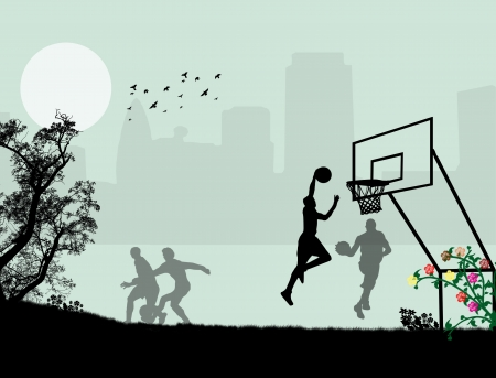 playground basketball: Background illustration with children playing in the park  Illustration