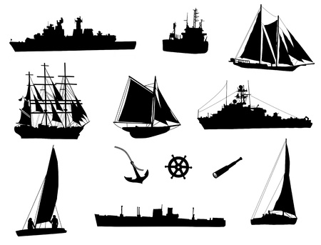 spyglass: Set of silhouettes of the sea cargo ships and old ships illustration Illustration
