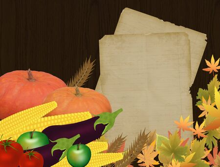 Autumn background with pumpkins, eggplant,aplle,tomatoes and corn with old blank paper Vector