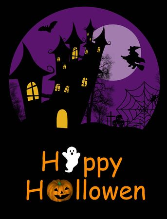 Halloween background with haunted house, bats and full moon Vector