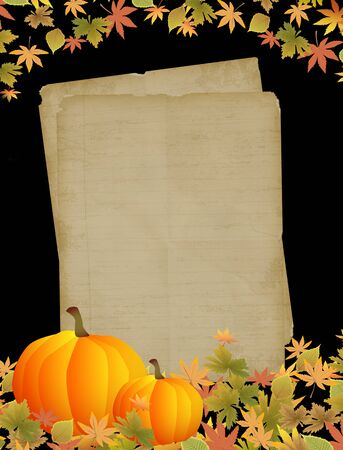 beautiful thanksgiving: Autumn background with old paper, pumpkins and leaves