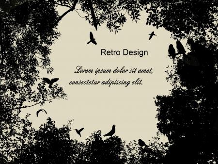 lối sống: Chim trong cây và bay trên nền phong cách retro