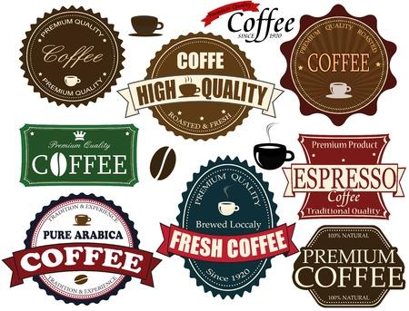 chicchi di caff�: Set di etichette di caff� d'epoca ed elementi su bianco
