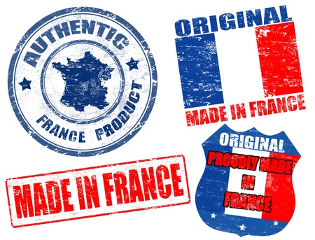 francia: Conjunto de sello de goma del grunge con el texto hecho en Francia