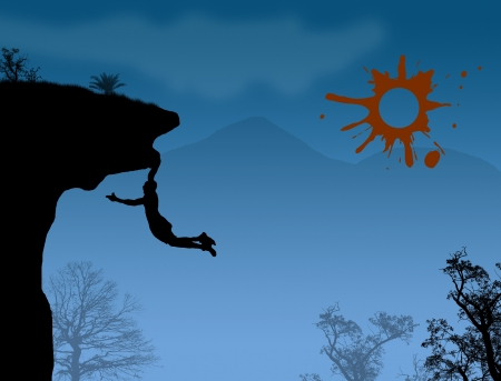 climbing mountain: Man climbs the mountain on beautiful blue landscape Illustration