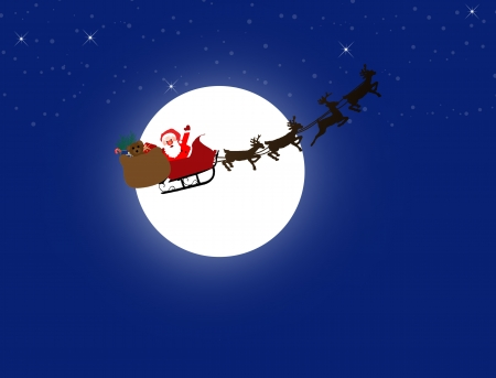 clip art santa claus: Silhouette illustration of Santa Claus and his sleigh on the moon and night sky background