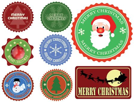 Set of Christmas labels on white background Stock Vector - 15635889