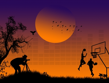 working animals: Silhouette of photographer at sunset shoot basketball players Illustration