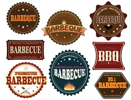 bbq grill: Set of barbeque labels and elements on white