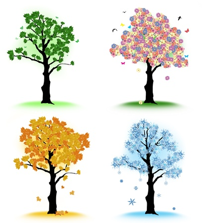 snow fall: Art tree for your design. Four seasons - spring, summer, autumn, winter on white background Illustration