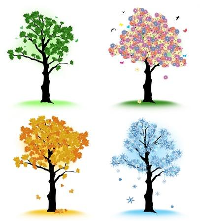 Art tree for your design. Four seasons - spring, summer, autumn, winter on white background Stock Vector - 15712217