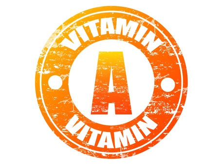 Vitamin A label in grunge rubber stamp effect