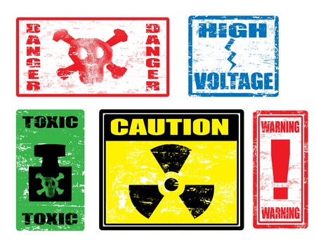 Set of warnings stamps, dangerously for life Stock Vector - 15745647