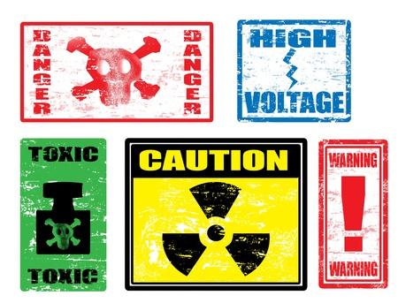 dangerously: Set of warnings stamps, dangerously for life Illustration