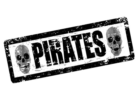 black grunge rubber stamp with skulls shape and the word pirates written inside Stock Vector - 15745627