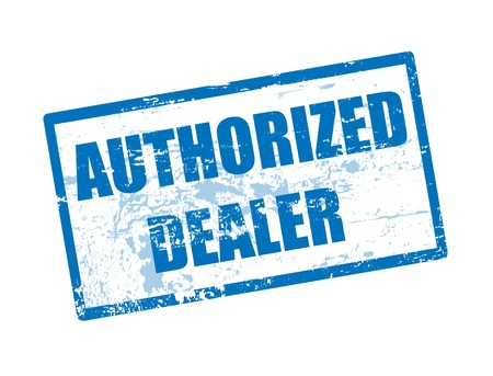 dealer: Abstract blue rubber office stamp with the text authorized dealer written inside
