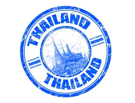 thai culture: Blue grunge rubber stamp with the name of Thailand written inside the stamp