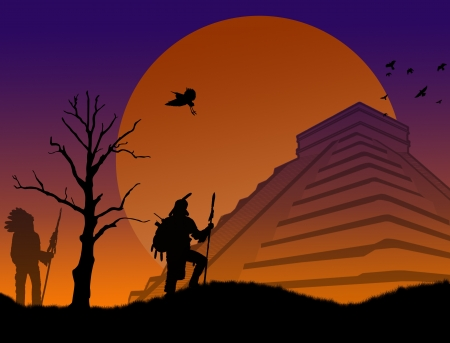 Ancient mayan warriors at Chichen Itza at sunset, vector illustration