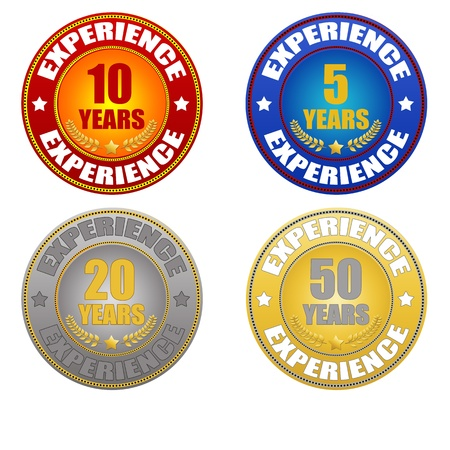 five year: set of years experience sticker on white, vector illustration