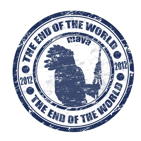 mayan prophecy: The End of the World theme grunge rubber stamp, vector illustration