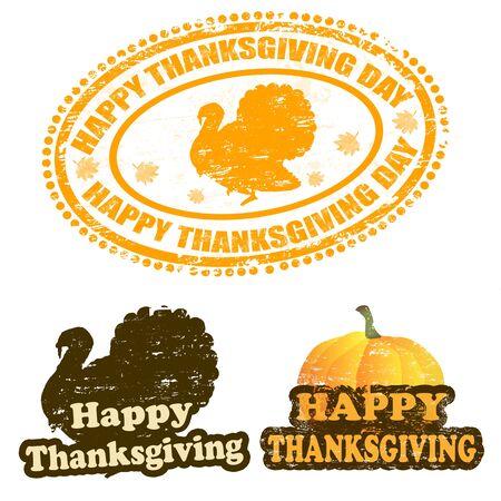 thanksgiving day symbol: Set di timbri in gomma grunge con il testo del Ringraziamento felice scritto all'interno del francobollo, illustrazione vettoriale