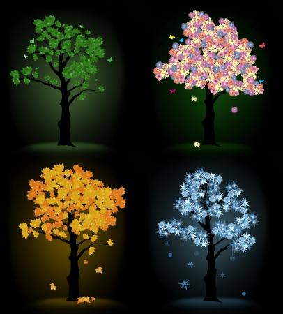 Art tree for your design. Quatre saisons - printemps, été, automne, hiver sur fond noir