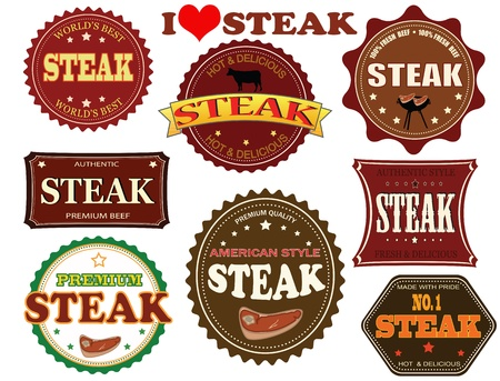 Set of steak labels and elements on white, vector illustration Vector