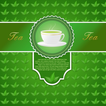 teabag: Background with a cup of tea and green leaves on leaves pattern, vector illustration