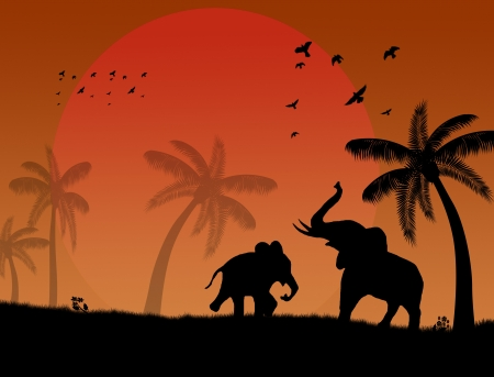African safari theme with elephants and palms on beautiful place Vector
