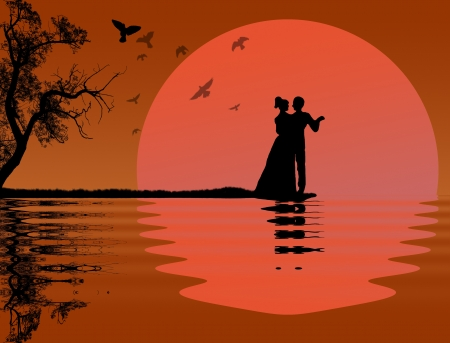 Beautiful tropical sunset background with two lovers Vector
