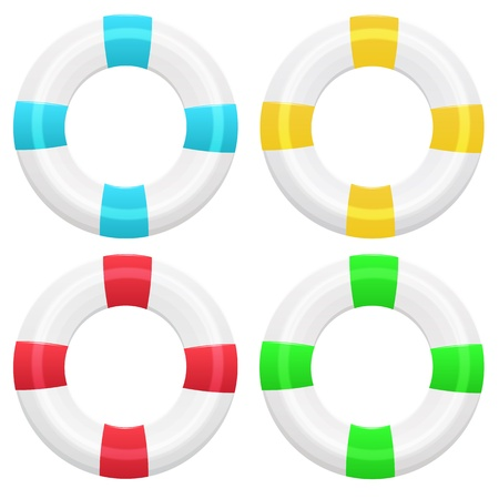 life preserver: Set of four lifebuoy in different colors on white background Illustration