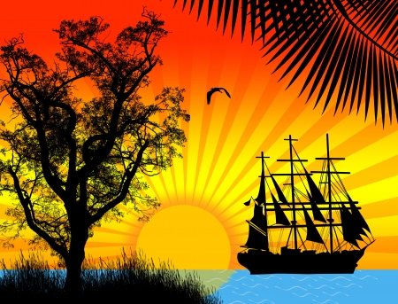 tall ship: Pirate ship in ocean at sunset Illustration