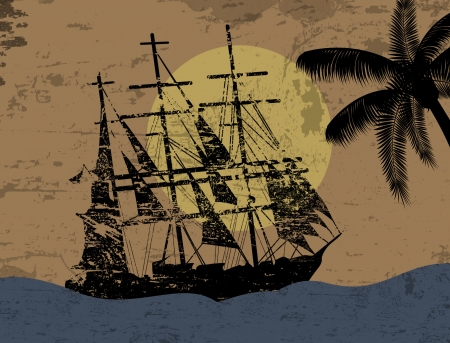 warship: Grunge background with pirate ship in ocean