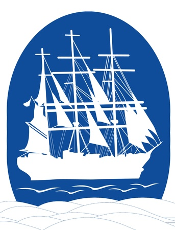 Sail ship in ocean water for travel or another design, such a logo Vector