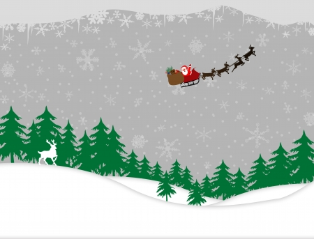 evergreen: Winter forest and santa sleigh on snowing background design
