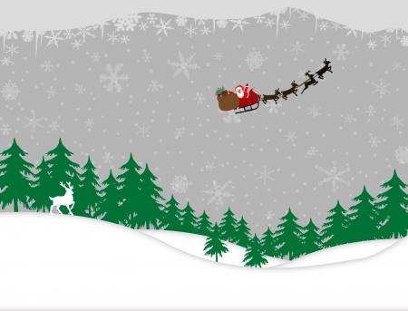 arbre     ? � feuillage persistant: Winter forest et santa tra�neau sur neige de conception de fond Illustration